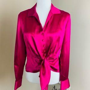 Jones New York Pink Womens Blouse Petite Medioum